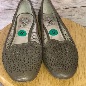 Vince Camuto Comfy Grey Taupe Laser Cut Out Loafer